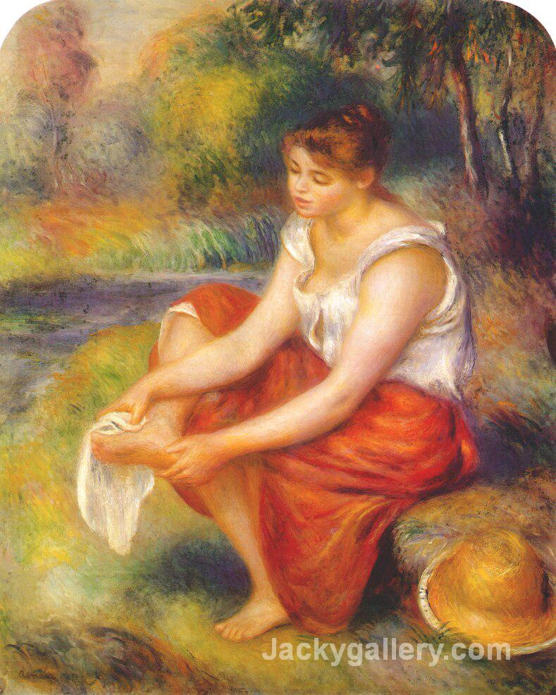 Girl wiping her feet by Pierre Auguste Renoir paintings reproduction
