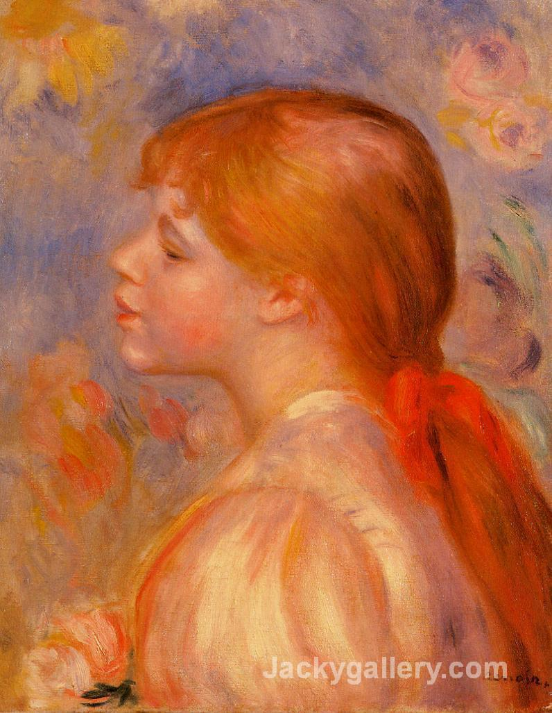 Girl with a Red Hair Ribbon by Pierre Auguste Renoir paintings reproduction