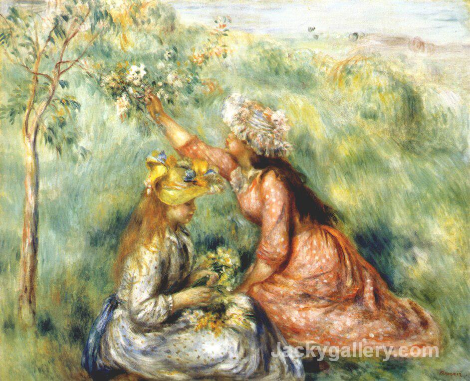 Girls picking flowers in a meadow Colored by Pierre Auguste Renoir paintings reproduction