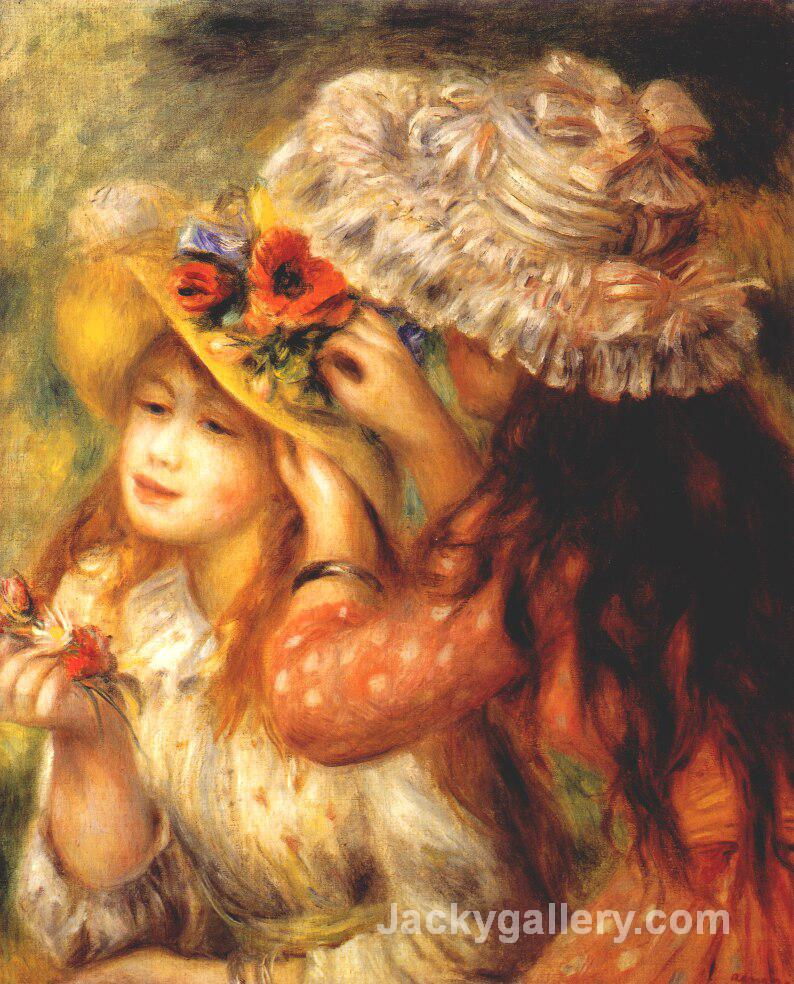 Girls putting flowers on their hats by Pierre Auguste Renoir paintings reproduction