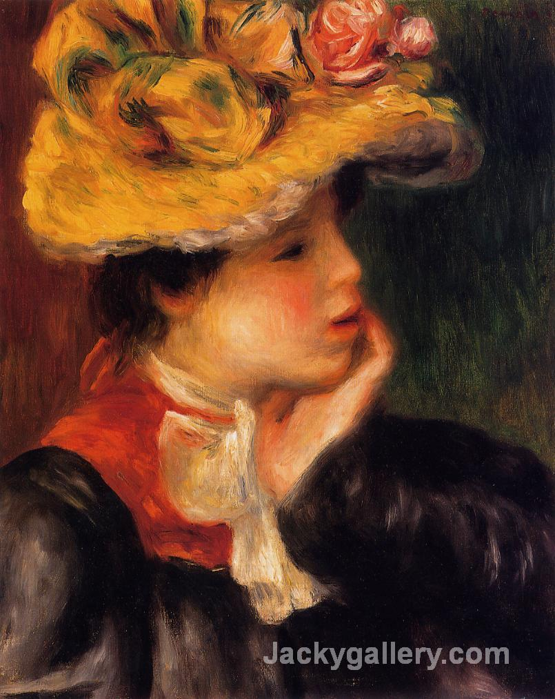 Head of a Young Woman (Yellow Hat) by Pierre Auguste Renoir paintings reproduction