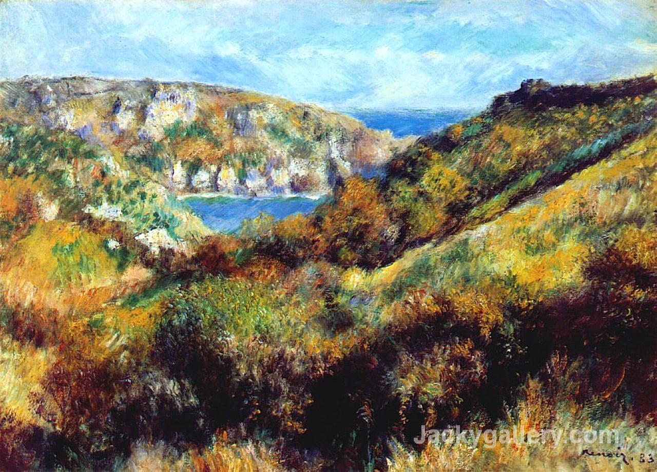 Hills Around Moulin Huet Bay by Pierre Auguste Renoir paintings reproduction
