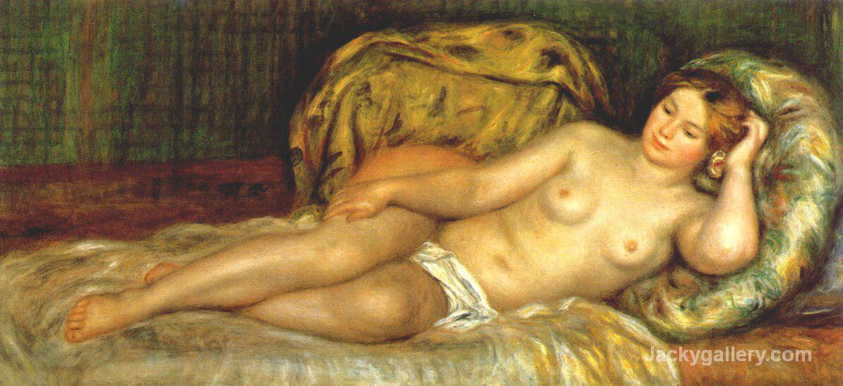 Nude reclining on cushions by Pierre Auguste Renoir paintings reproduction