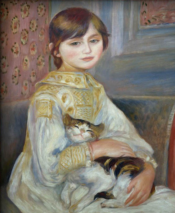 Portrait of Julie Manet or Little Girl with Cat by Pierre Auguste Renoir