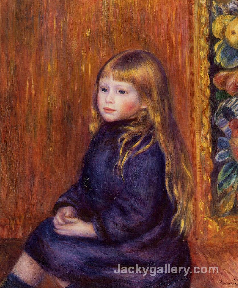 Seated Child in a Blue Dress by Pierre Auguste Renoir paintings reproduction