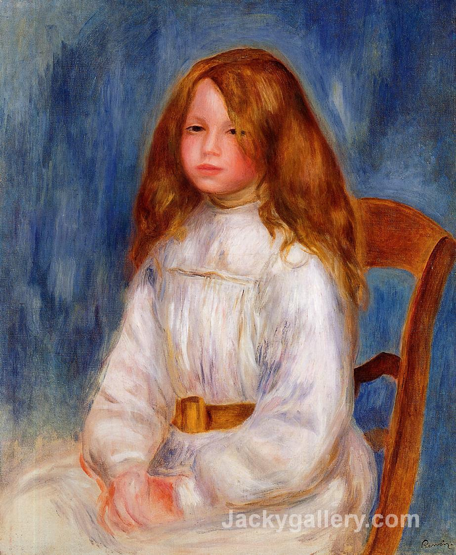 Seated Little Girl with a Blue Background by Pierre Auguste Renoir paintings reproduction