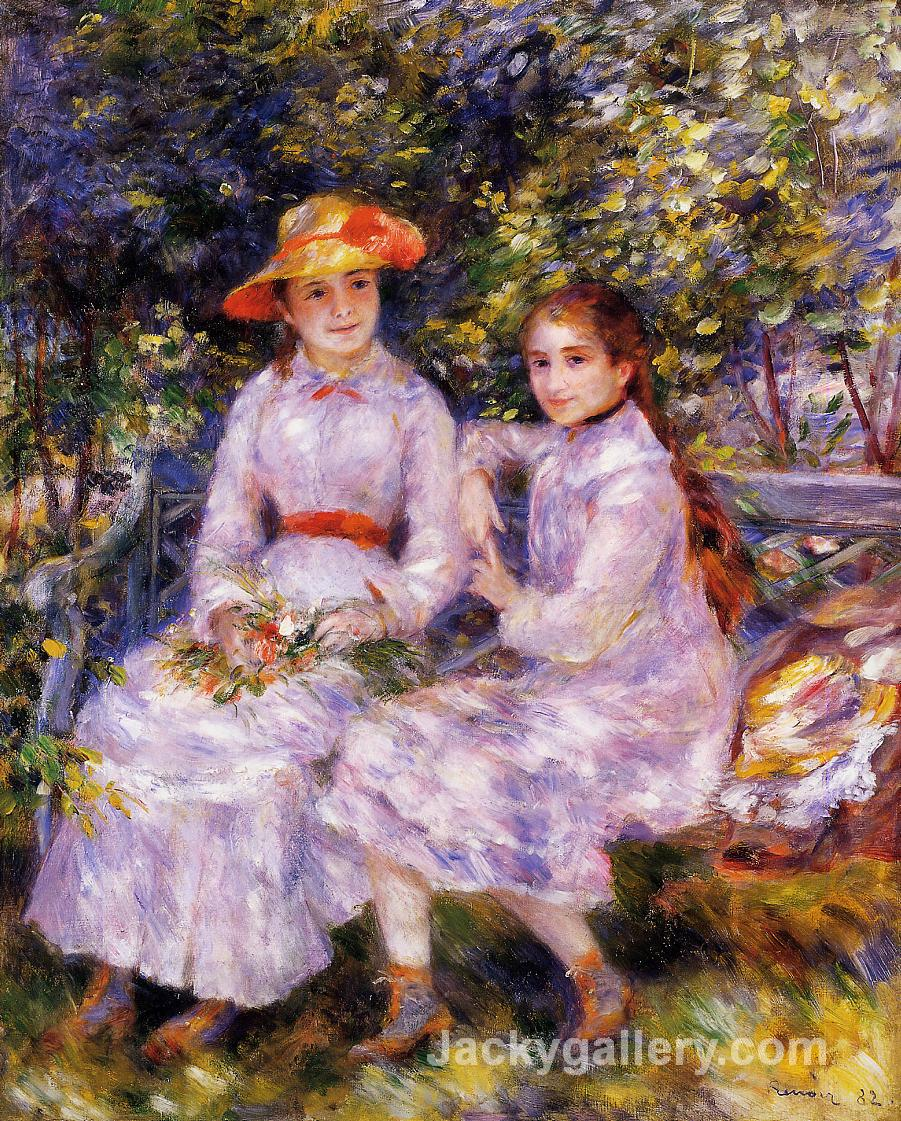 The Daughters of Paul Durand Ruel (Marie Theresa and Jeanne) by Pierre Auguste Renoir paintings reproduction