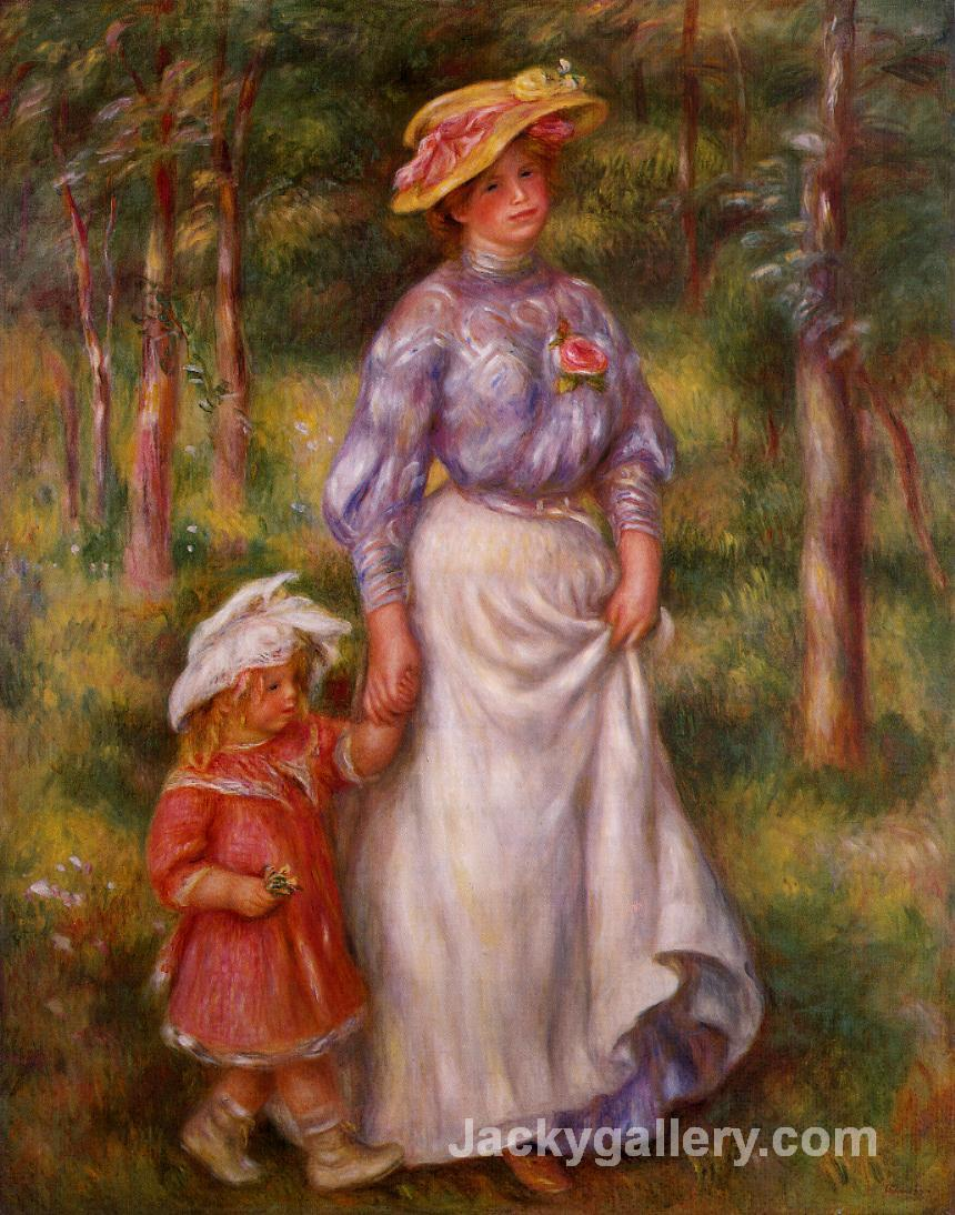 The Promenade (Julienne Dubanc and Adrienne) by Pierre Auguste Renoir paintings reproduction