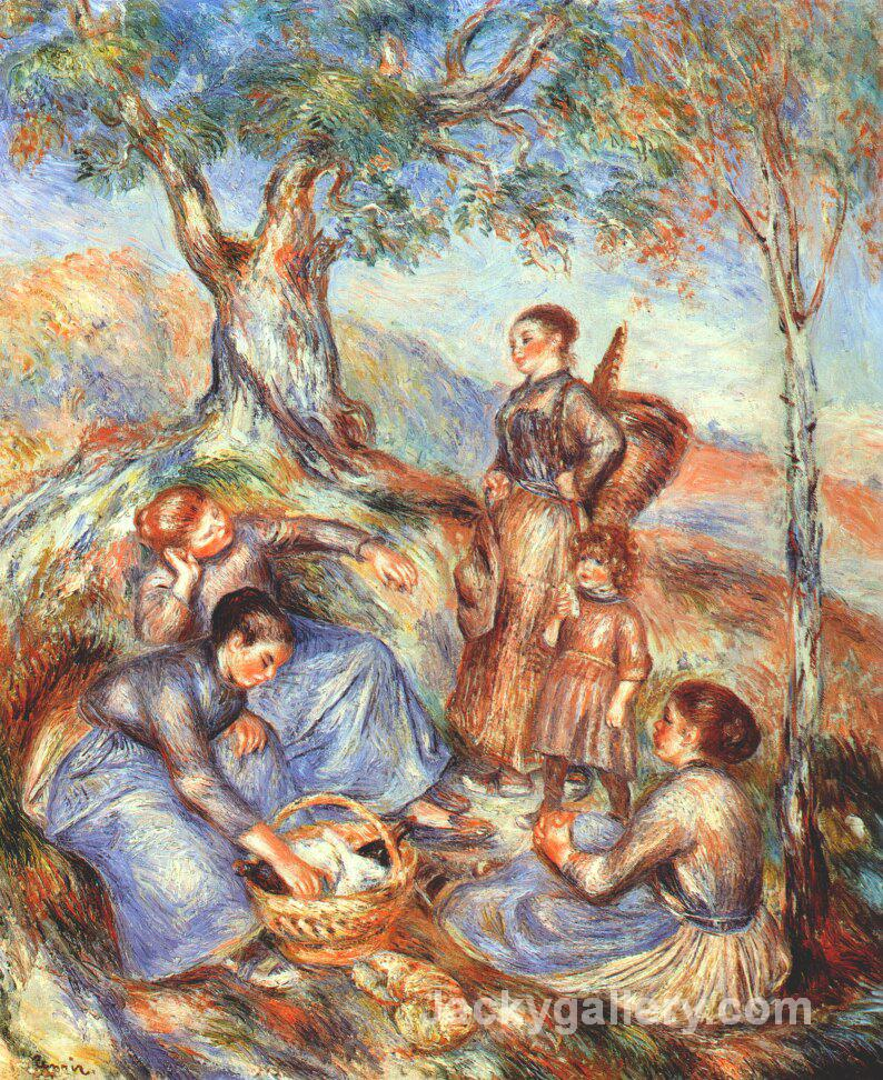 The grape pickers at lunch by Pierre Auguste Renoir paintings reproduction