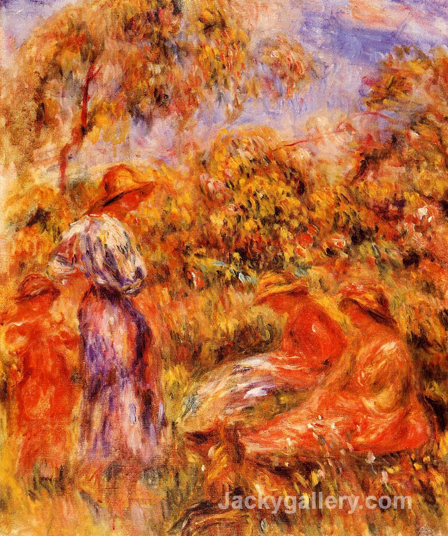 Three Women and Child in a Landscape by Pierre Auguste Renoir paintings reproduction