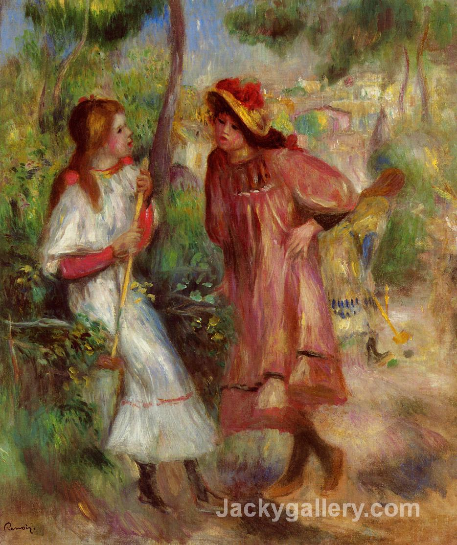 Two Girls in the Garden at Montmartre by Pierre Auguste Renoir paintings reproduction