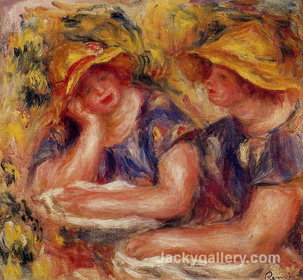 Two Women in Blue Blouses by Pierre Auguste Renoir paintings reproduction