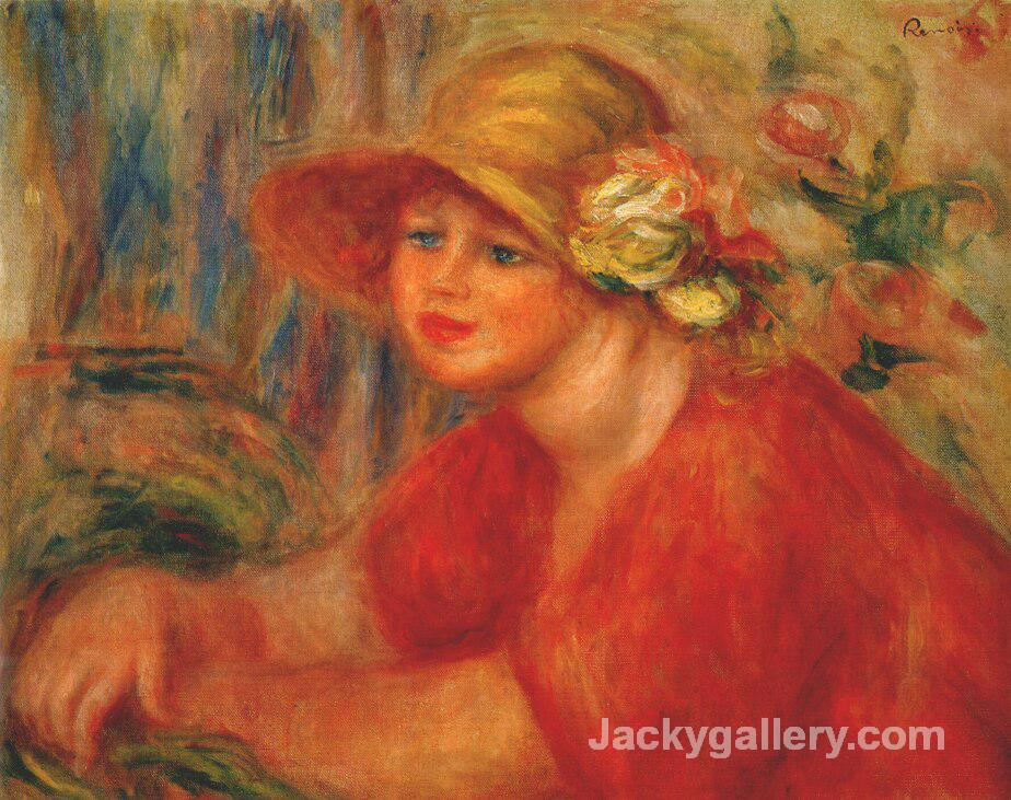 Woman in a hat with flowers by Pierre Auguste Renoir paintings reproduction