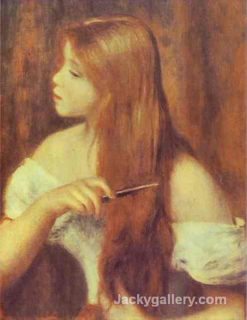 Young Girl Combing Her Hair by Pierre Auguste Renoir paintings reproduction