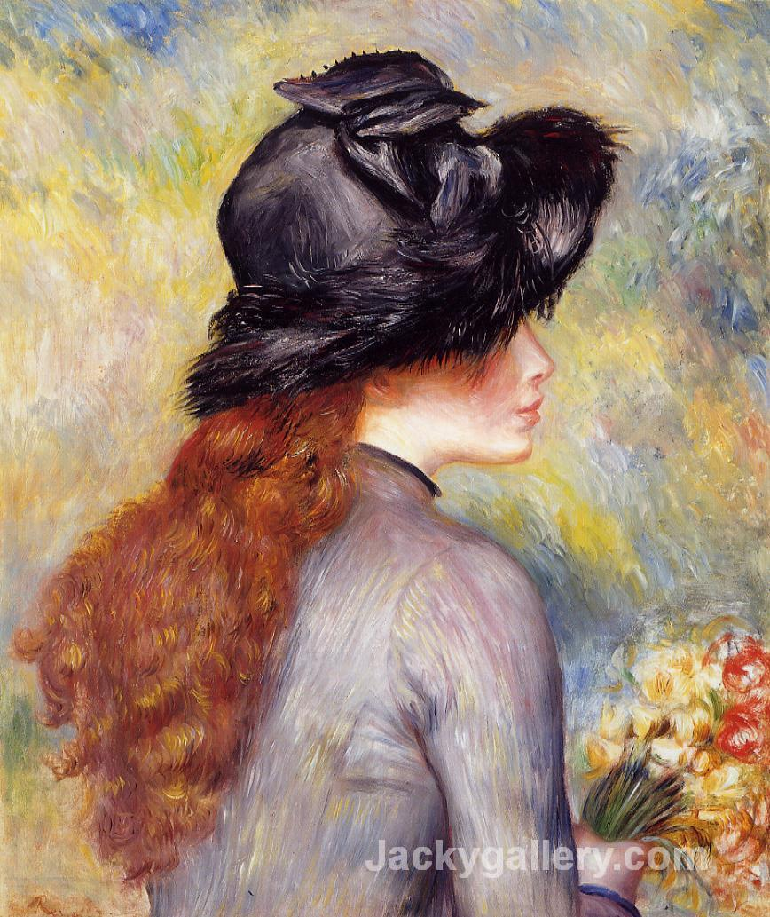 Young Girl Holding at Bouquet of Tulips by Pierre Auguste Renoir paintings reproduction