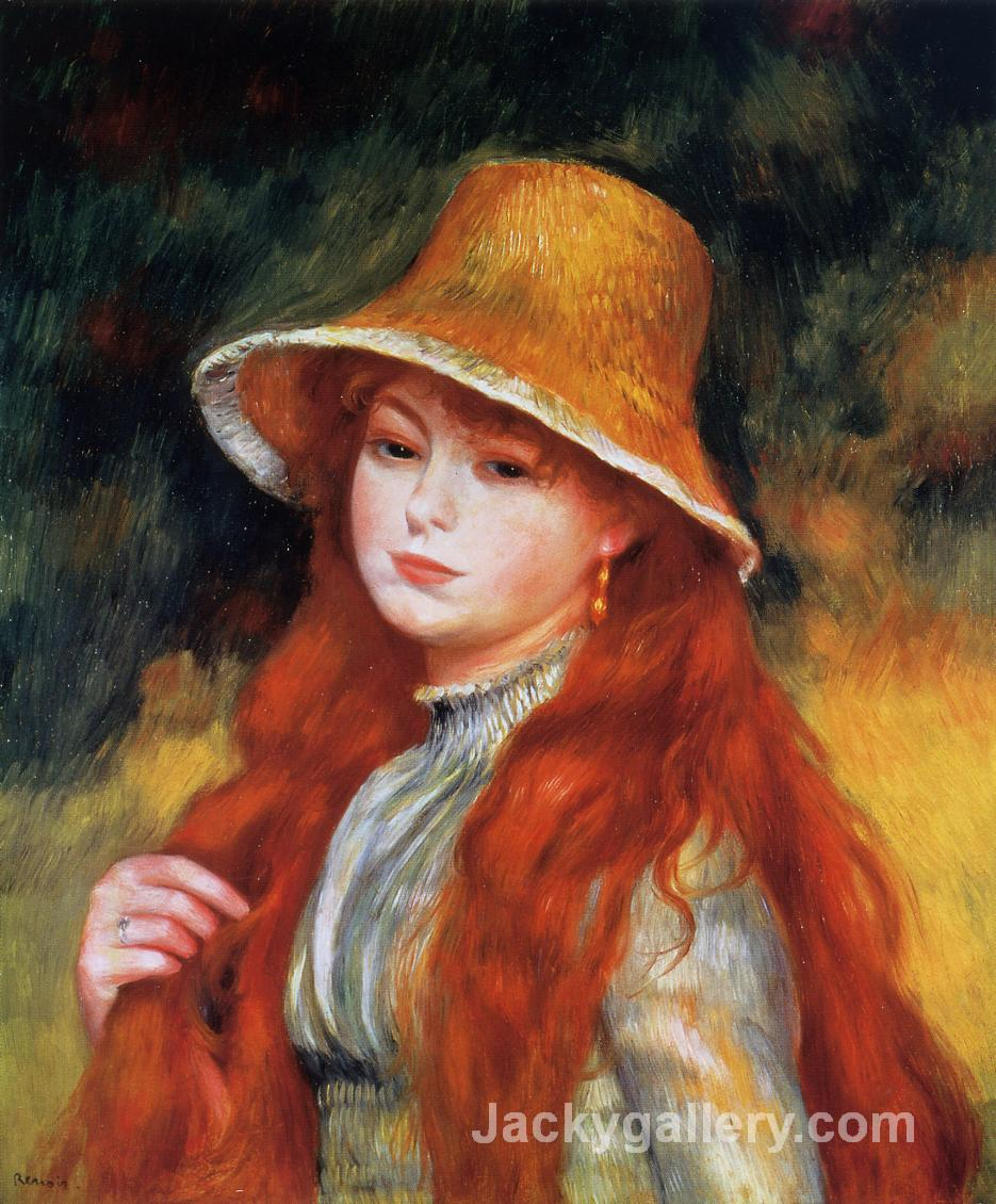 Young Girl in a Straw Hat by Pierre Auguste Renoir paintings reproduction