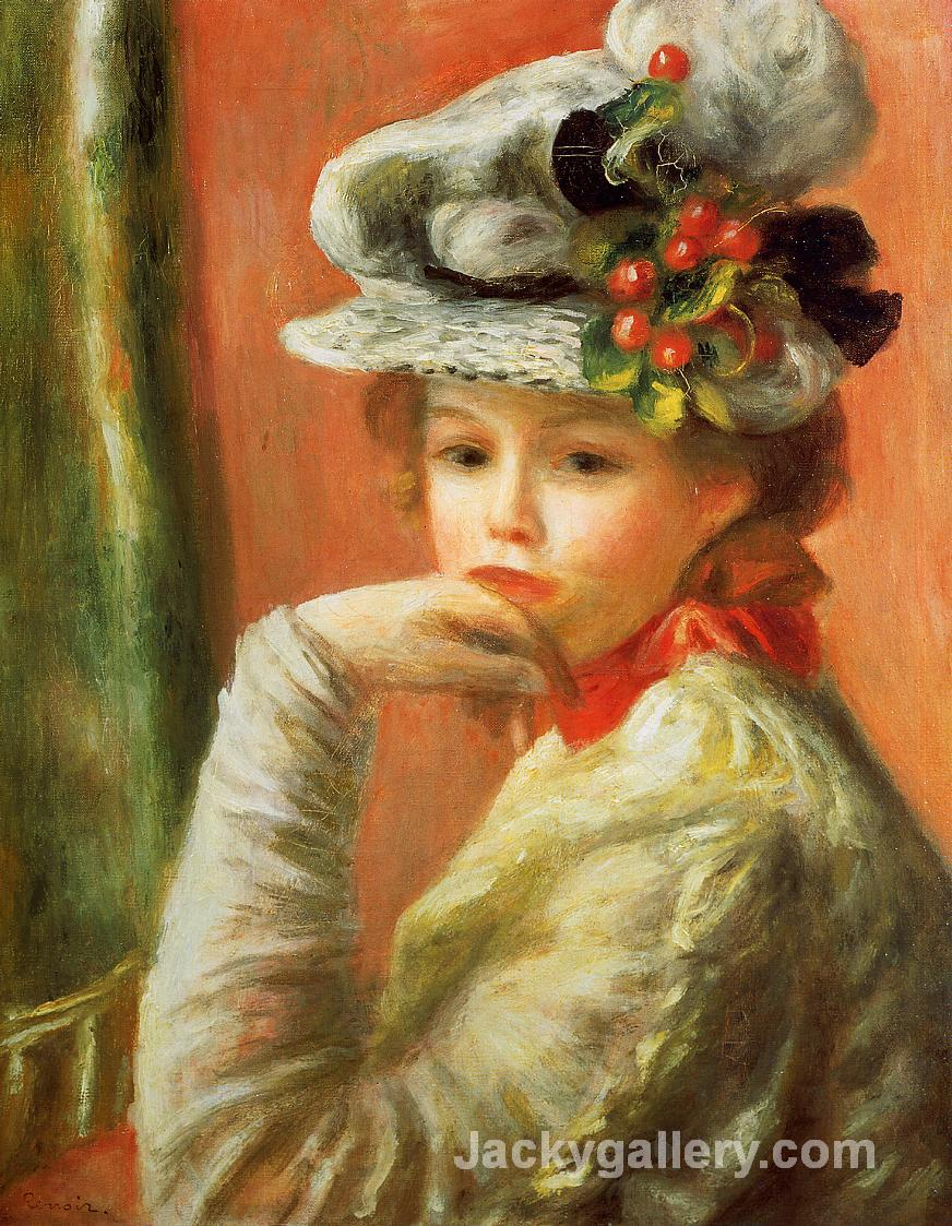 Young Girl in a White Hat by Pierre Auguste Renoir paintings reproduction