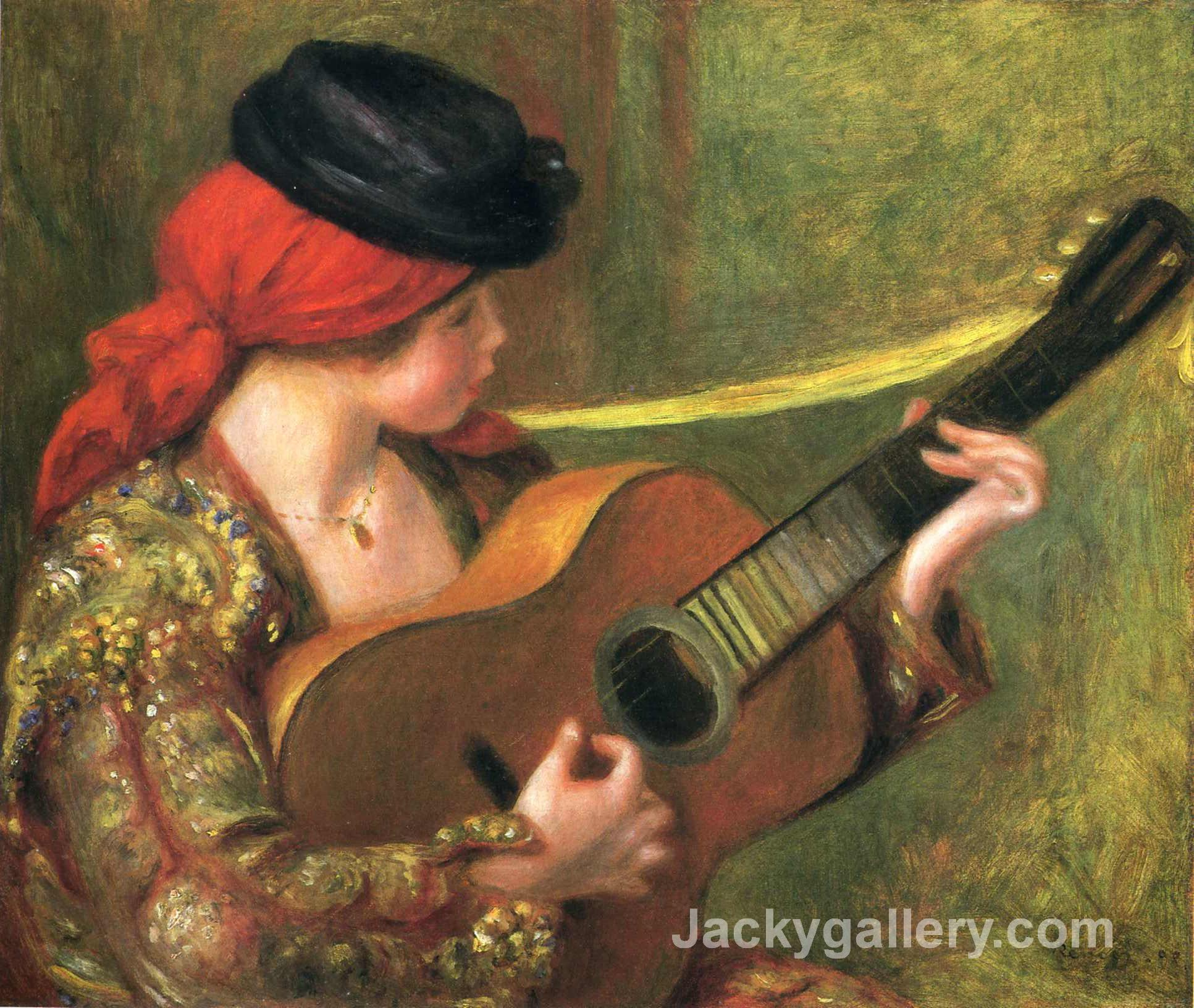 Young Spanish Woman with a Guitar by Pierre Auguste Renoir paintings reproduction