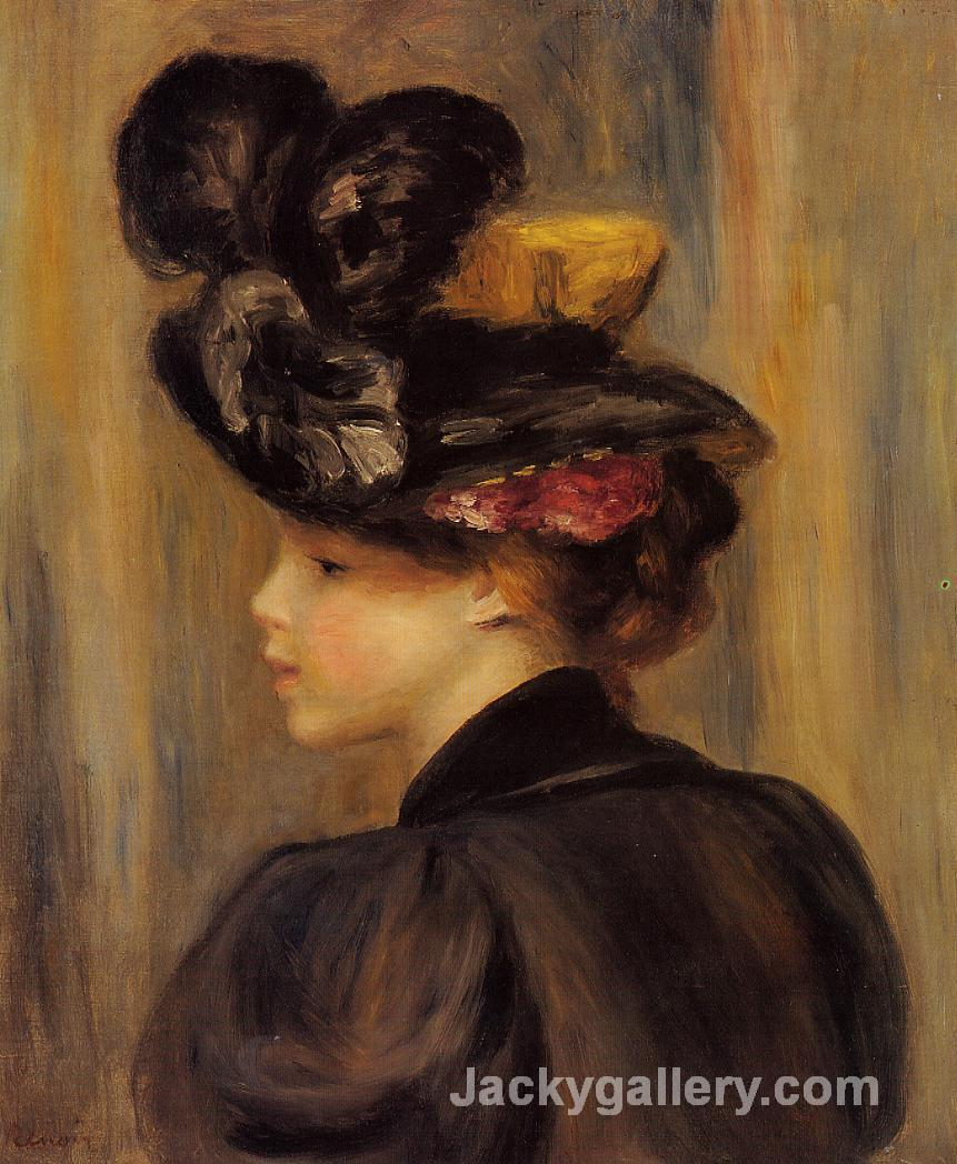Young Woman Wearing a Black Hat by Pierre Auguste Renoir paintings reproduction
