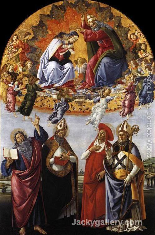 Coronation of the Virgin with St. John the Evangelist, St. Augustine, St. Jerome, and St. Eligio by Sandro Botticelli paintings reproduction