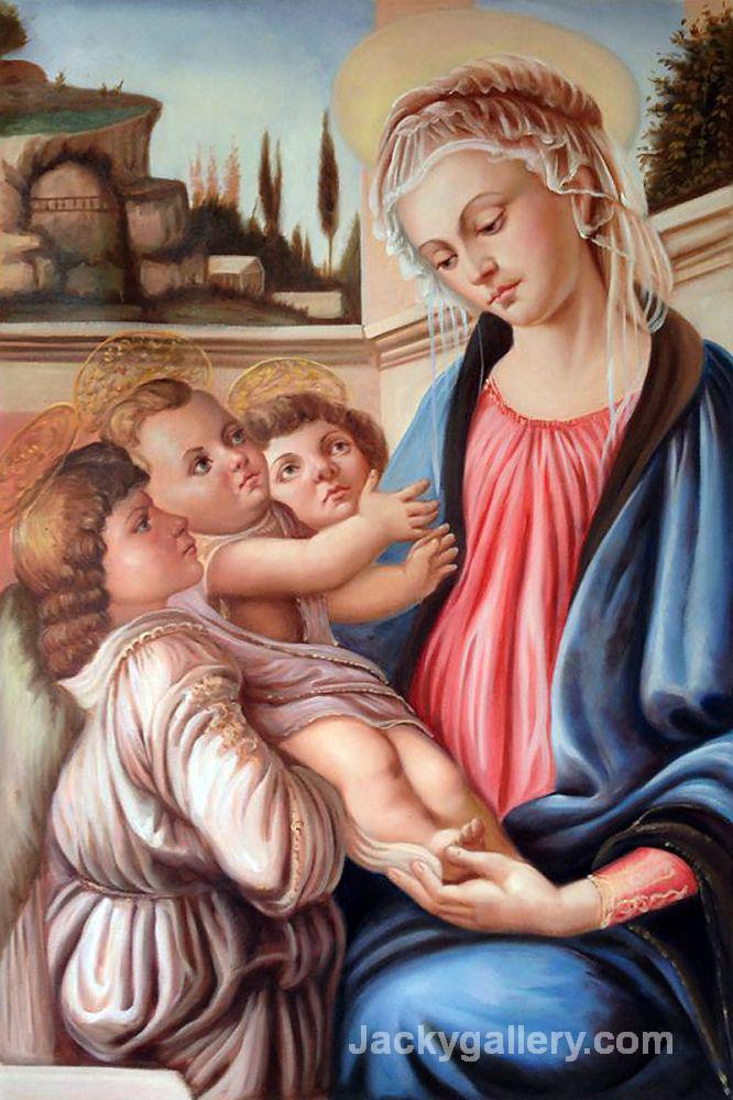 Madonna with two angels by Sandro Botticelli paintings reproduction
