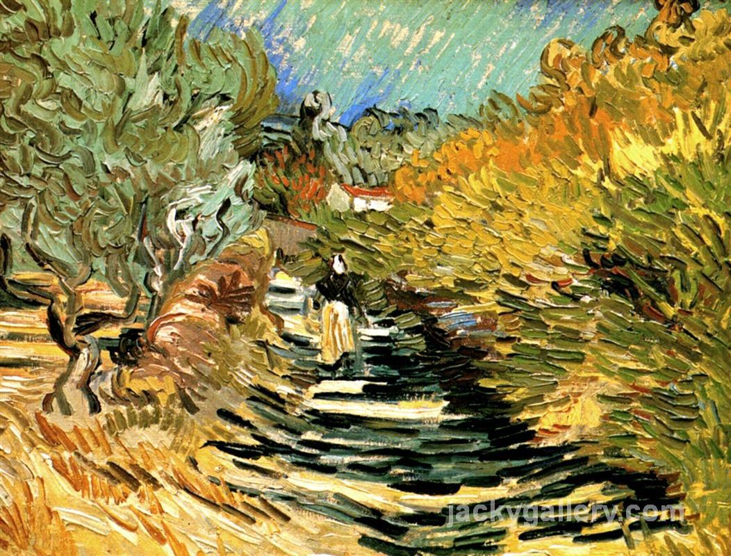 A Road in St. Remy with Female Figures, Van Gogh painting