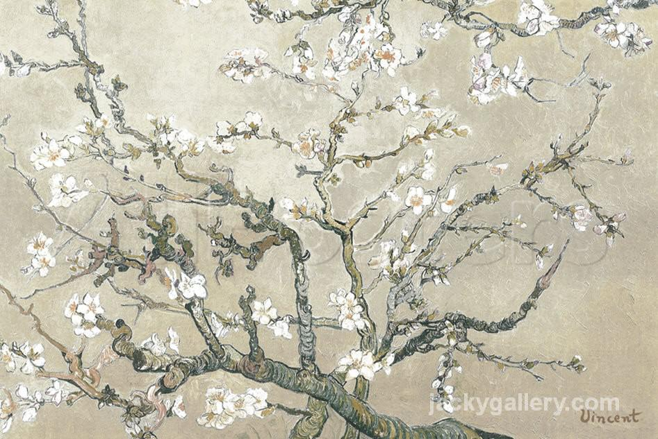 Almond Branches in Bloom, San Remy Grey, Van Gogh painting