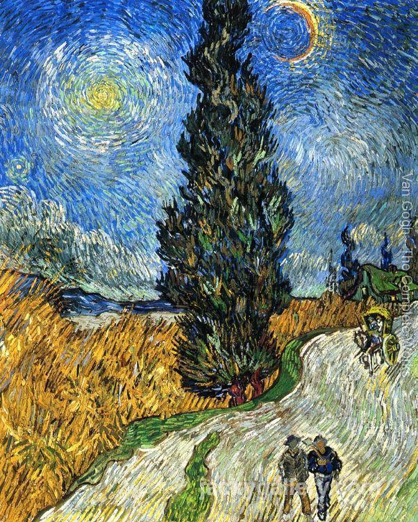 Cypress against a Starry Sky, Van Gogh painting