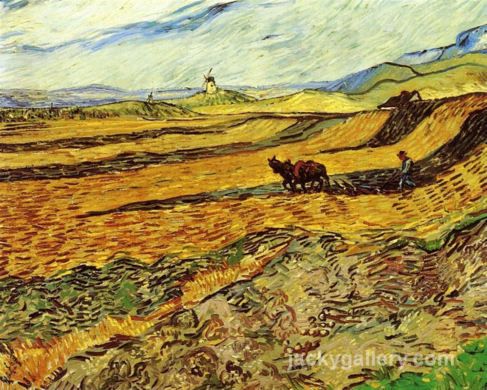 Field and Ploughman and Mill, Van Gogh painting