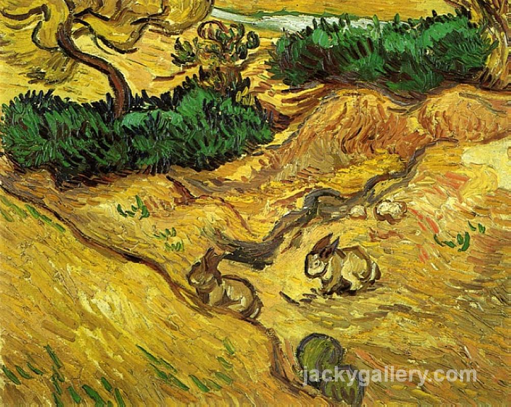Field with Two Rabbits, Van Gogh painting