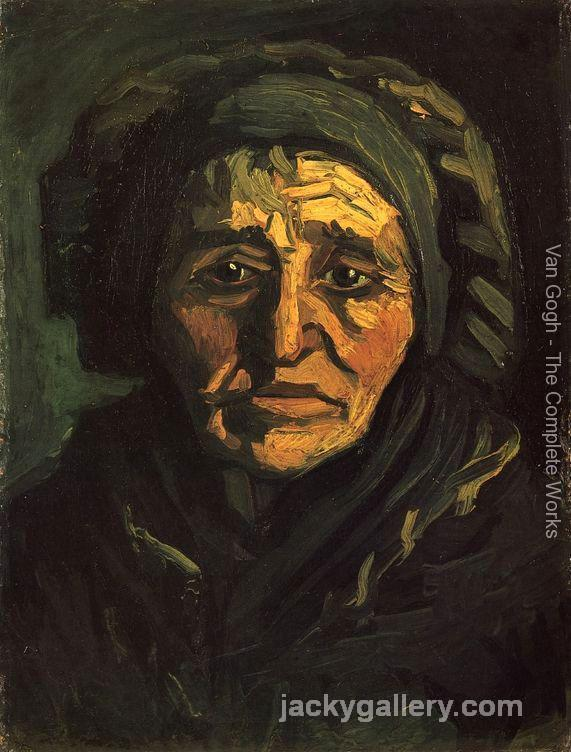 Head of a Peasant Woman with a Greenish Lace Cap, Van Gogh painting