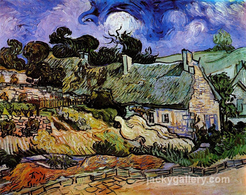Houses with Thatched Roofs, Cordeville, Van Gogh painting