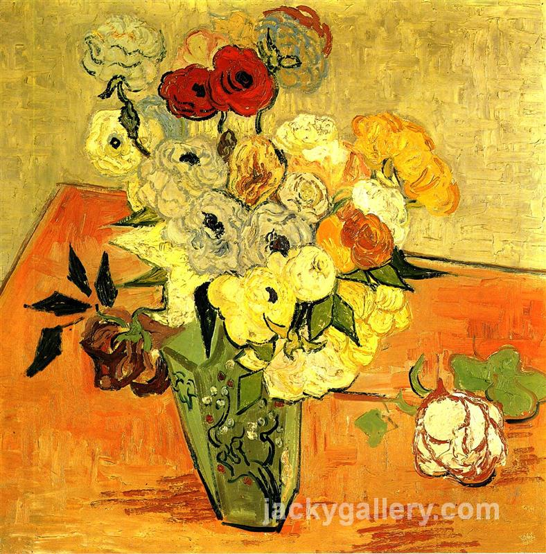 Japanese Vase with Roses and Anemones, Van Gogh painting