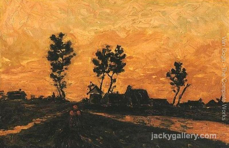 Landscape At Sunset, Van Gogh painting