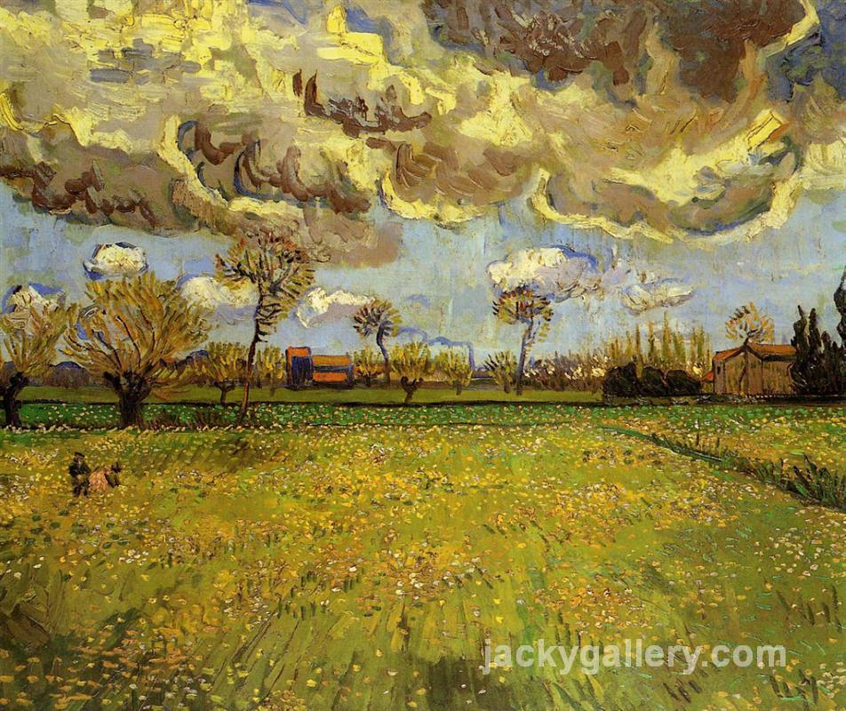 Landscape under a Stormy Sky, Van Gogh painting