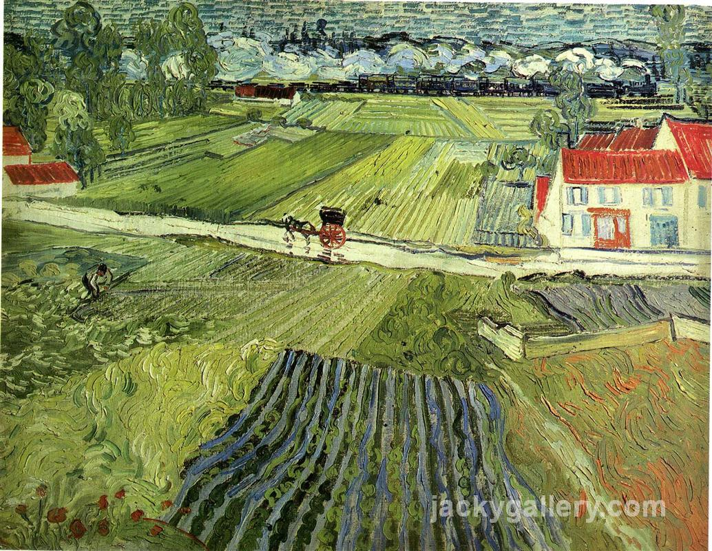 Landscape with Carriage and Train, Van Gogh painting