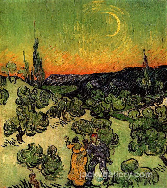 Landscape with Couple Walking and Crescent Moon, Van Gogh painting