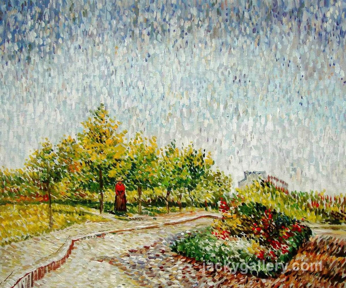 Lane in the Argenson Park at Asnieres Spring, Van Gogh painting