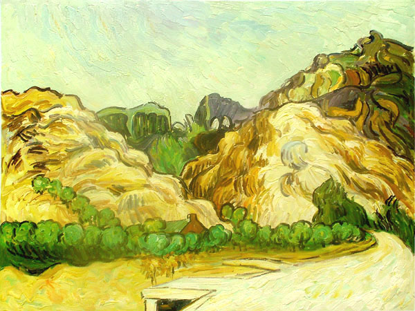 Mountains at St. Remy with Dark Cottage by Vincent Van Gogh