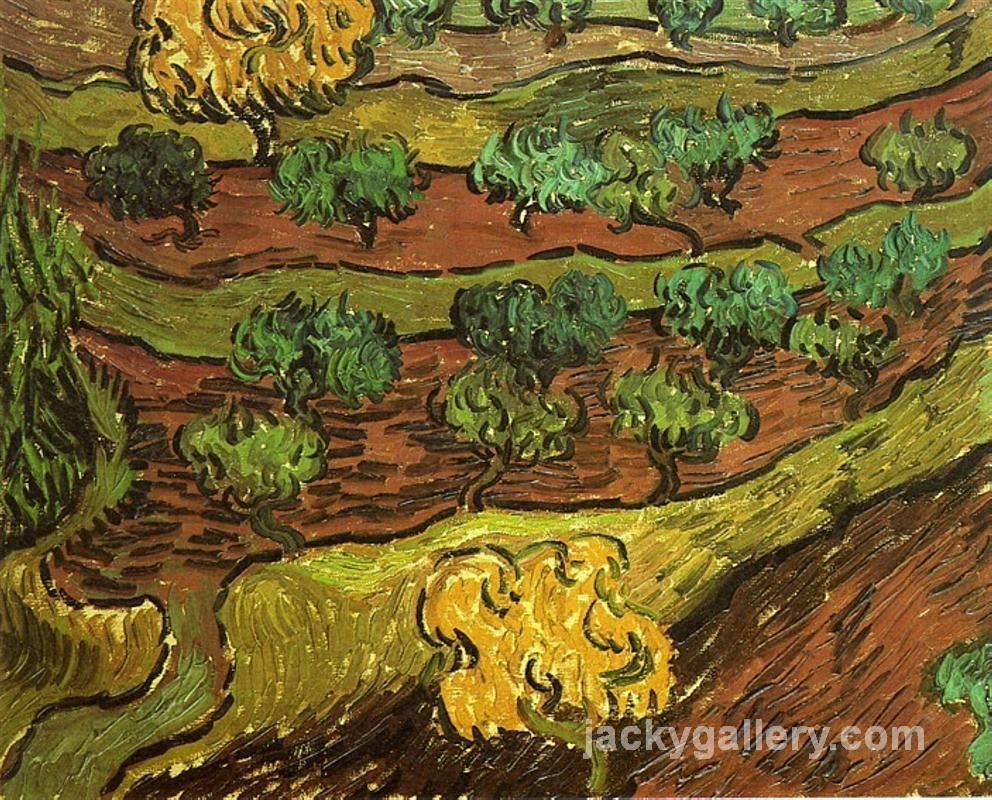 Olive Trees against a Slope of a Hill, Van Gogh painting