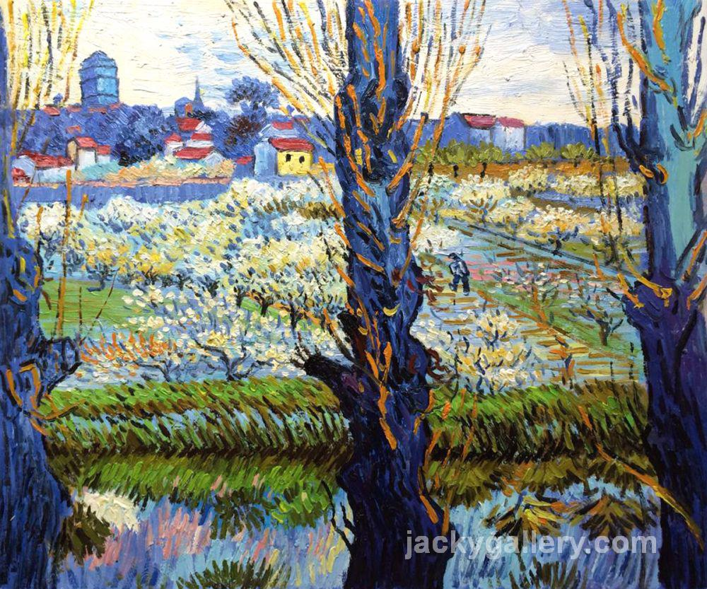 Orchard in Bloom with Poplars, Van Gogh painting
