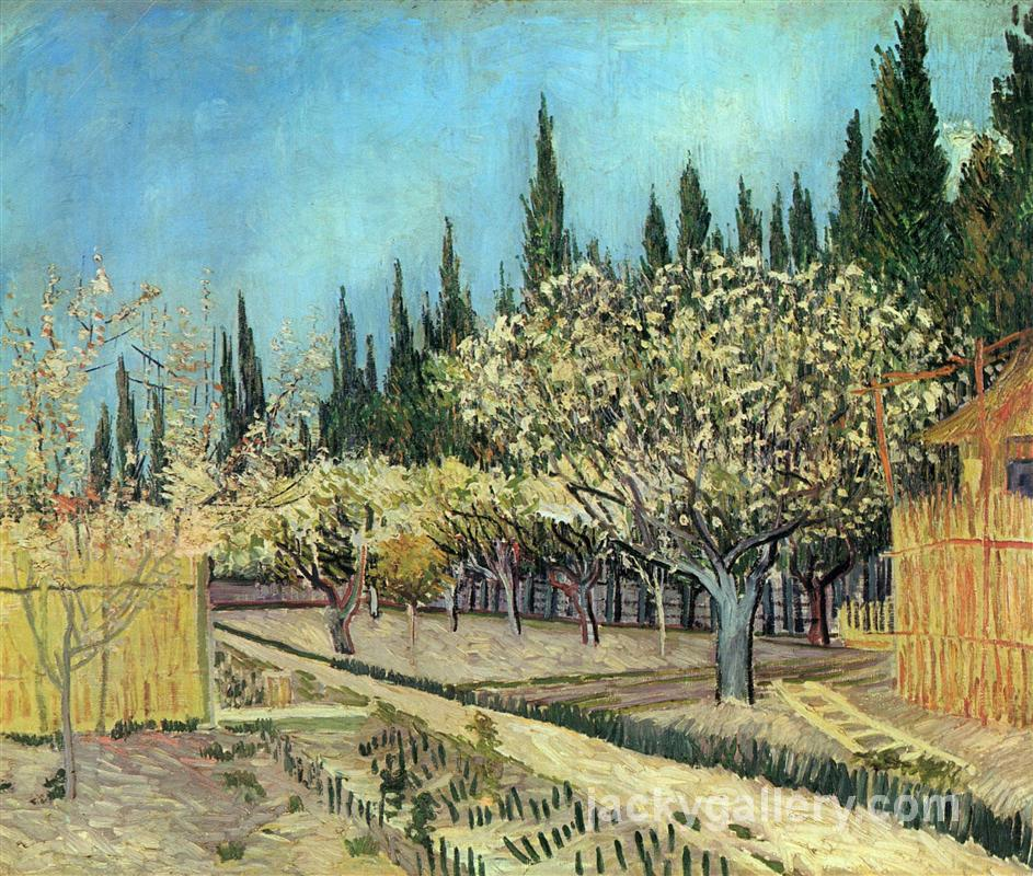 Orchard in Blossom, Bordered by Cypresses, Van Gogh painting