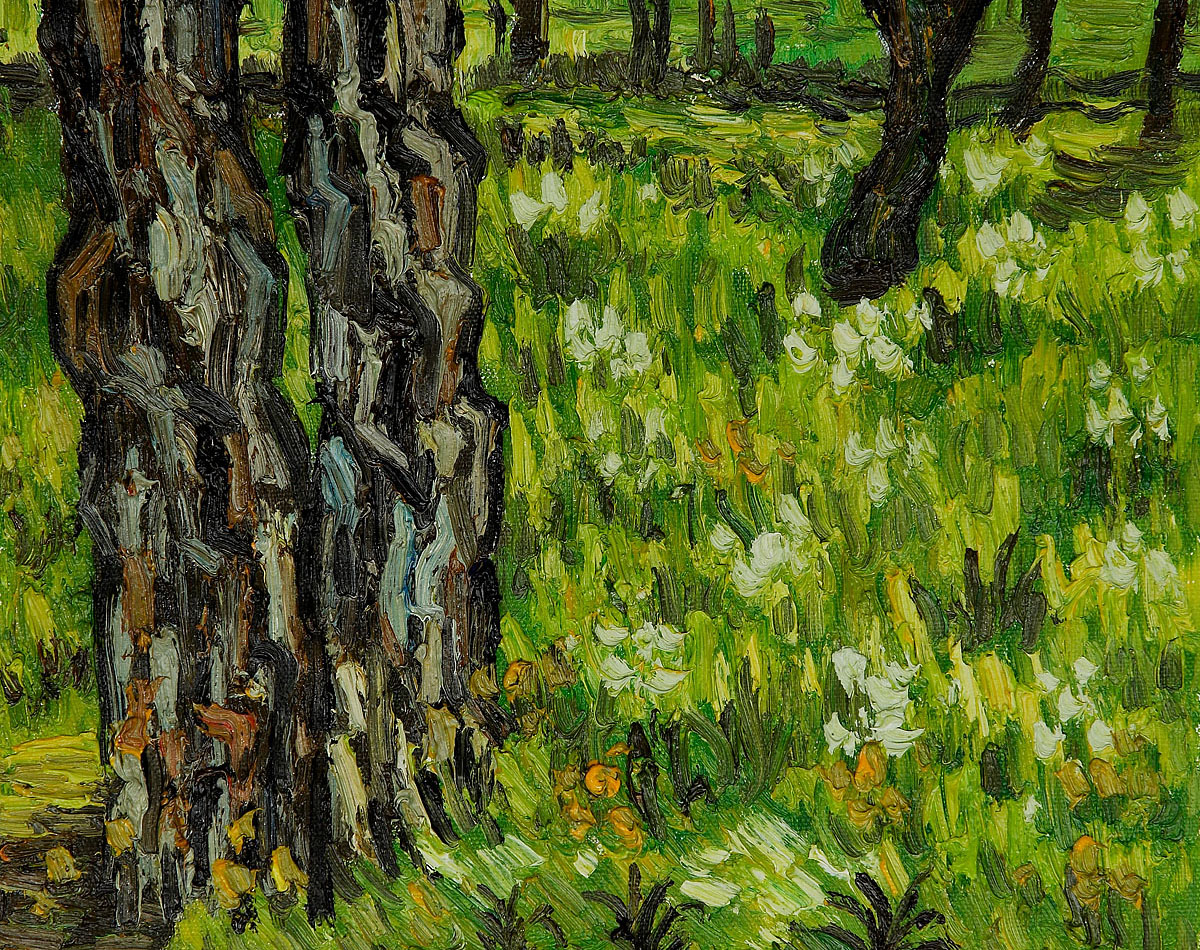 Pine Trees and Dandelions in the Garden of St. Paul Hospital by Vincent Van Gogh