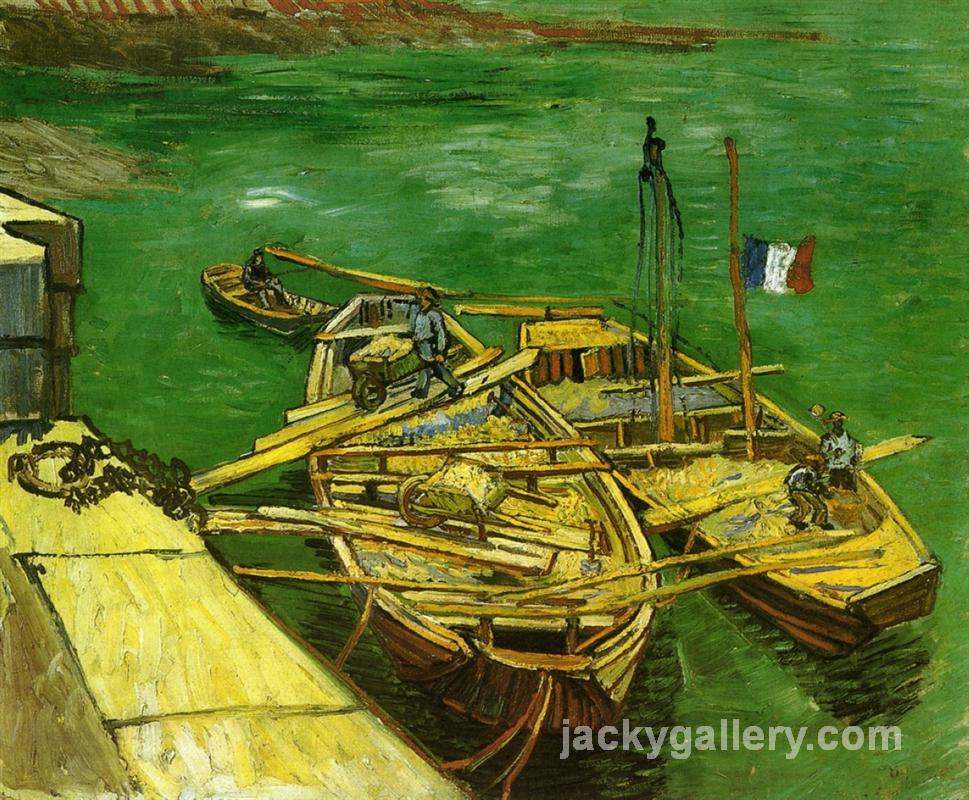 Quay with Men Unloading Sand Barges, Van Gogh painting