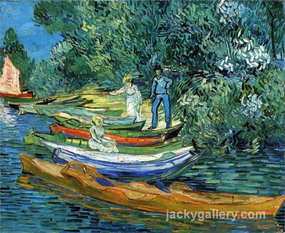 Rowing Boats on the Banks of the Oise, Van Gogh painting