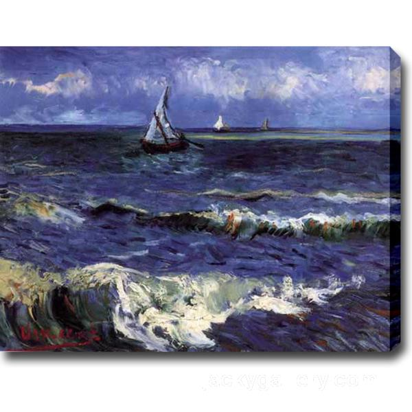 Seascape near Saintes-Maries, Van Gogh painting