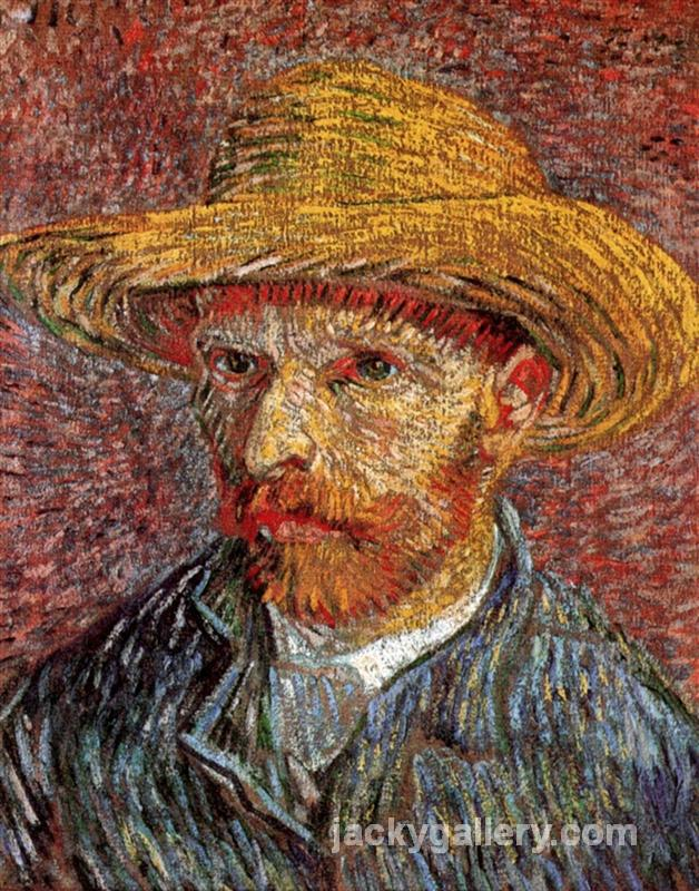 Self-Portrait with Straw Hat, Van Gogh painting