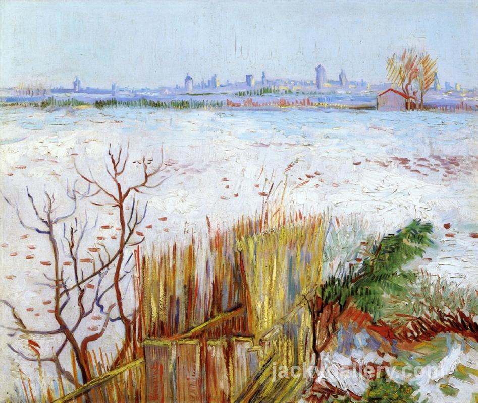 Snowy Landscape with Arles in the Background, Van Gogh painting