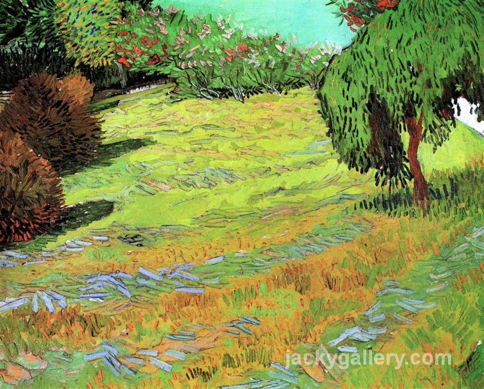 Sunny Lawn in a Public Park, Van Gogh painting
