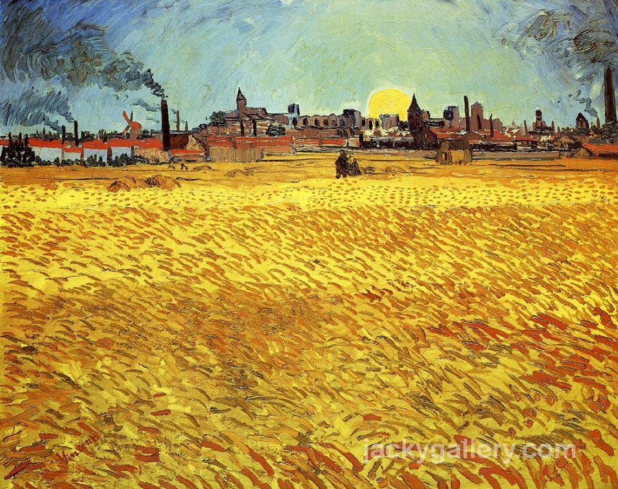 Sunset at Wheat Field, Van Gogh painting